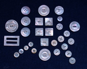 Large Group of Varied Sizes of Very Pretty Vintage Mother of Pearl Buttons