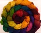 Batt in a Braid #27 -Hand dyed top for spinning -End of the Rainbow  (4.5 oz.)Lt. Grey shetland/falklands merino/tussah silk (50/25/25)