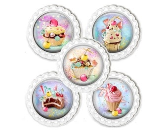 Fridge Kitchen Magnet Set, Cupcake, Dessert Magnet, Locker Magnets, Party Favors, Hostess Gift, Kitchen Accessory