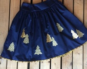 Navy Tree Skirt with Gold trim