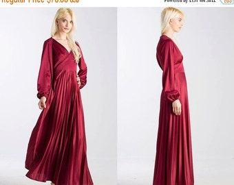 50% OFF ENTIRE STORE Vintage Ox Blood Red 70s Maxi Pleated Long Sleeve Dress
