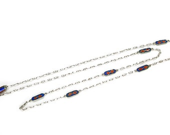 Art Deco Red and Blue Cloisonné Enamel Sterling Silver Paperclip Chain