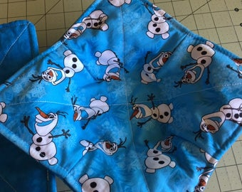 Microwave Bowl Cozy Pot Holder Reversible set of 2 Disney Olaf print and watercolor blue