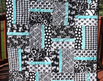Black and White Animals- Baby quilt-Black, white and turquoise- Turquoise Minky backing