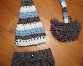 Baby Boy Set, Stripe Hat, Elf Hat, Gray Diaper Cover, Newborn Photo Set, Newborn Photo Prop, Infant Hat Stripe Elf Hat