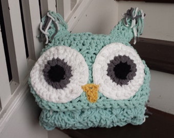 Owl blanket, hooded owl blanket, crochet owl blanket