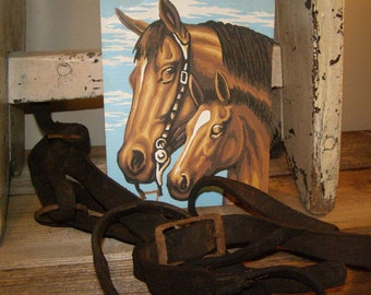 Vintage 1950's Mare & Colt Paint by Number. Horse Painting. Western Decor ~ Farmhouse Decor