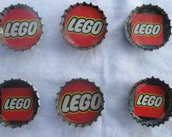Bottle Cap Magnets Lego Party Favors Set of Six Upcycled Material Handmade