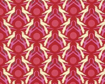 Hello Love by Heather Bailey for Free Spirit - Blackbird - Red - 1/2 yard Cotton Quilt Fabric 217