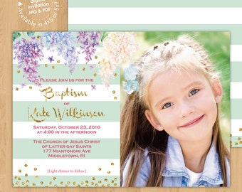 Lilac Girl Baptism Photo Invitation Digital Printable or Printed Cards, any wording any age any colors LDS