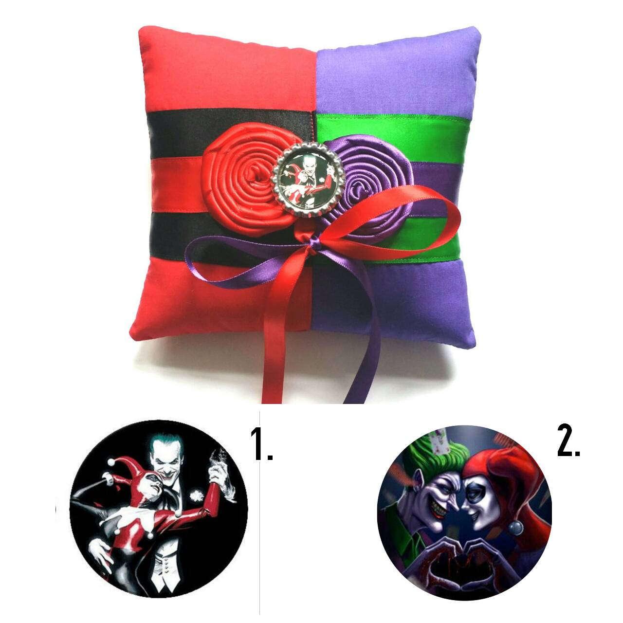 Harley Quinn And The Joker Half N Half Wedding Ring Pillow(6x6 Inch Pillow
