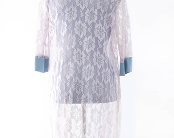 Bridal Sheer Lace Robe., Lavender and Ash Blue Wedding Lingerie - Vintage Loungewear Lace Robe
