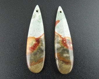 Australian Jasper  earrings pair, DRILLED, Natural cabochon, Jewelry making supplies S7364