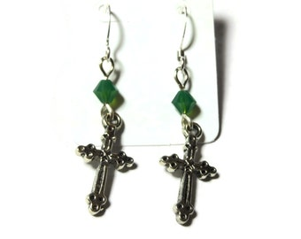 Small cross earrings, silver tone crosses, silver plated french wires, choice of 4 colors of Swarovski crystals, pierced dangle earrings