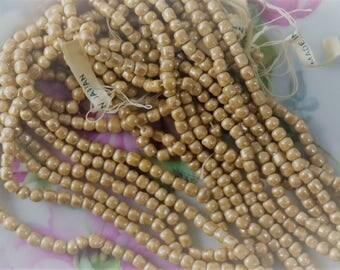 Vintage Japan Cherry Brand Glass Beads Beige Satin AB 4MM Baroque