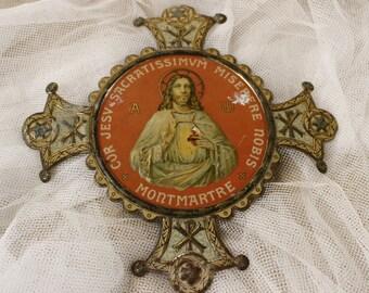 "Antique Metal Religious Plaque....8"" x 8""...Ex Voto...Nordic Living....Shabby chic...Home Decor."