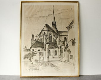 """Large Sketch of a French Church...26"""" x 20"""" framed and signed Noelle Malaurie.... Black and White Artwork."""