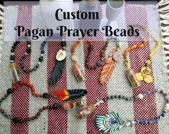 Custom Pagan Prayer Beads with Charm Bottle