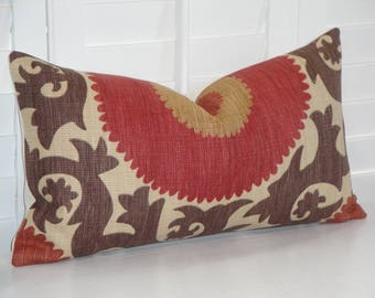 "Decorative Pillow Cover - Fit 12"" x 22"" insert -  Fahri In Clove - Suzani - Red - Rust - Warm Brown - Tan"