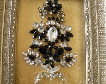 """JEWELED CHRISTMAS TREE, Vintage and New Brooch Tree, Black and Gold, Rhinestone Brooches,Black Jewelry, Unique Christmas Gift, 8"""" x 10"""""""