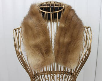 Vintage Small Mink Fur Collar Brown