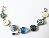 BLUE vintage button bracelet with intricate glass and shell buttons, silver links