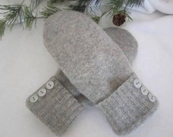 Women's lambswool mittens heather gray fleece lined size medium RTS