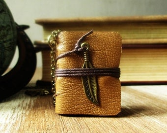Book necklace jewelry feather charm pendant for women miniature journal diary brown leather book diary hand torn pages gift  for teen