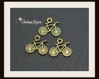 1 Bicycle Charm, Double Sided Antique Gold Tone 15 x 13 mm sc586