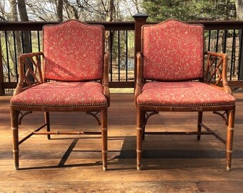 Set of two Chinese chippendale Faux Bamboo chairs-Local pick up only or YOUR SHIPPER