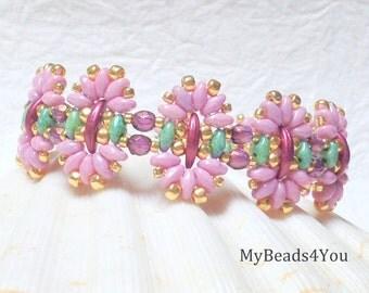 Beaded Bracelet,Beadwork Bracelet, Seed Bead Jewelry, Superduo Beads, Beadwoven Jewelry, Pink Beaded Bracelet, Mothers Day Gift, MyBeads4You