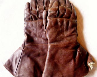 Original Dents Vintage motorcycle gauntlets,Brown,Leather,1950's,
