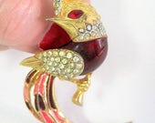 Red Bird Brooch - Red Pink Enamel -  Long Tail - Red Eye Pin