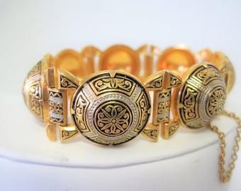 Damascene Gold Link Bracelet - Wide Gold Links - Safety Chain