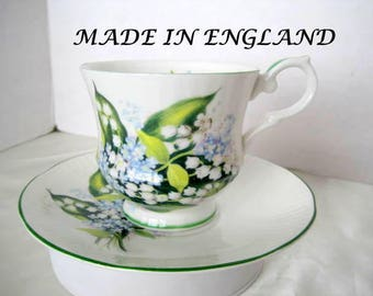 Bone China Cup Saucer -  Lilies of the Valley - Made in England