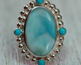 Silver Larimar Ring