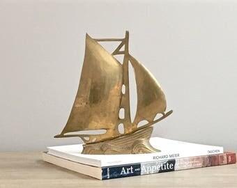 Vintage Brass Clipper Ship Statue Brass Sailboat Rustic Nautical Coastal Decor