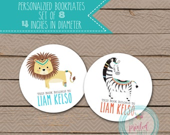 Personalized Bookplates - School Bookplates - Book Plate - Nameplate - name plate - AZTEC - TRIBAL - JUNGLE - 008