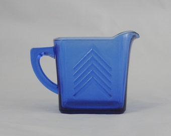 Vintage Beautiful Cobalt Blue Hazel Atlas Chevron Small Pitcher 1930's
