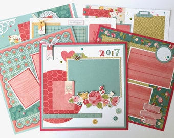 12x12 Scrapbook Page Kit or Premade Pre-Cut with Instructions 6 pages Friends Family Photos