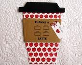 Red Apples TEACHER Thanks a Latte Gift Card Holder