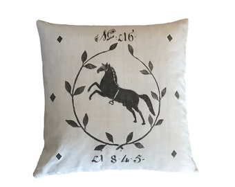 Number 16 Equestrian French Country Grain Sack Cushion cover with wreath
