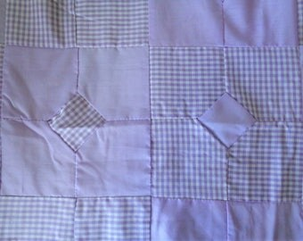Vintage Quilt Top Handmade Lavender Gingham and Cotton Bow Tie Variation