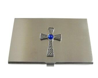 Large Celtic Cross with Blue Center Business Card Holder
