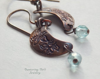 Blue Moon Earrings, Hammered Copper Crescent Moon with Pale Blue Apatite Gemstone Dangle, Small Earrings, Aquamarine Blue, Boho Jewelry