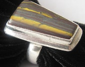 SALE Modernist Ring Sterling & Tiger Eye.  Sturdy Sz. 8.5.  Great Stone, Bold Geometric Design. Marked 925. Weighs 16.2 grams.