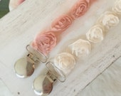 White Rosette Or Blush Pink Rosette Pacifier Clip/Baby Shower Gift/Newborn Baby Girl/Sophie the Giraffe Clip Paci saver/Posh Baby/ baby gift