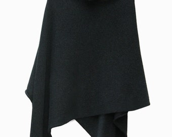 Charcoal grey 100% Cashmere Poncho