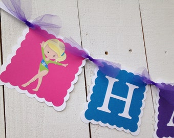 Gymnastic Birthday Banner/ Customized in any color/ Name Banner/ Birthday Decor/ Pink/ Purple/ Gymnast Theme/ Custom Party Package