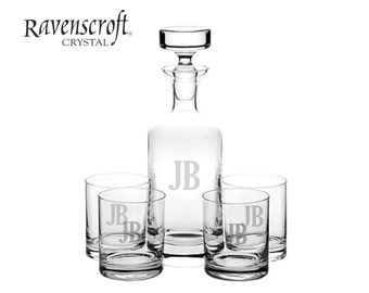 Personalized Engraved Crystal Decanter Set - Groomsmen Gift Ideas